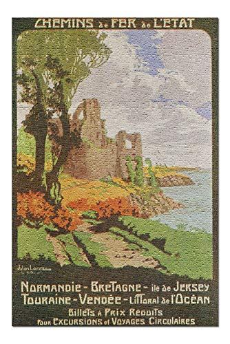 (France - State Railways Trips to Normandy, Brittany, Isle of Jersey, Touraine, and Vend (20x30 Premium 1000 Piece Jigsaw Puzzle, Made in USA!))