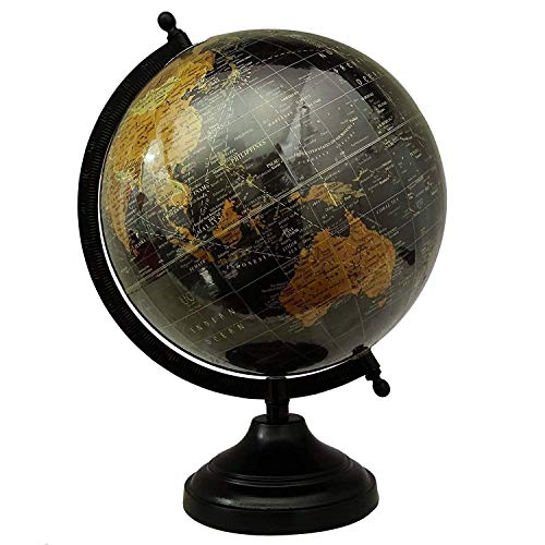 IFH Antique World Map Blue Ocean Rotating Globe School Home Office Table Decor