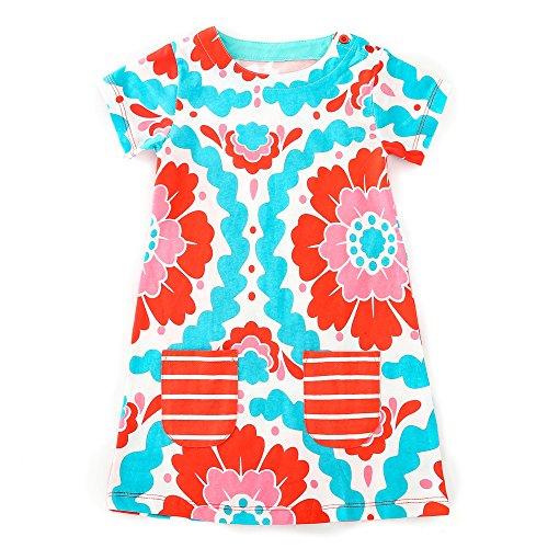 Hongshilian Girls Casual Cotton Short-Sleeved Cute Cartoon T-Shirt Dress (6T(5-6Yrs), Peony & Multicolour)