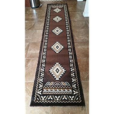 Southwest Native American Long Runner Area Rug Chocolate Brown Kingdom Design #D143(2ft4in.x10ft11in.)