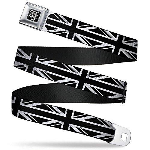 Buckle-Down Seatbelt Belt - Union Jack Distressed Black/White - 1.5