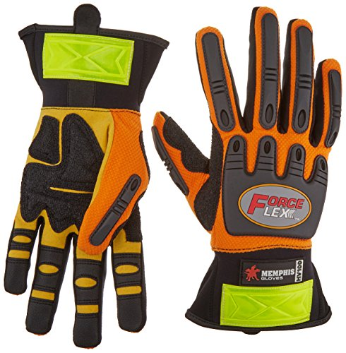 MCR Safety HV100M ForceFlex High Visibility Clarino Synthetic Leather Gloves with Reflective Material Cuff, Orange/Black, Medium, 1-Pair