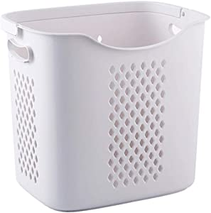 ZQ&QY Plastic Hollow Laundry Basket with Handle,Portable Dirty Clothing Toy Storage Basket,Breathable Durable Laundry Hamper for Dorm Closet Light Grey 38x29x35cm(15x11x14inch)