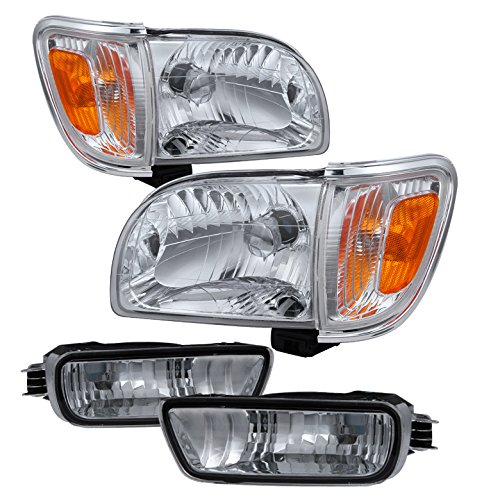 (Toyota Tacoma Crystal Headlights W/Amber Corner & Side Marker Lights 6pcs Chrome Housing With Clear Lens )