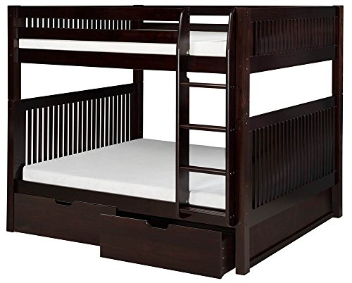 Camaflexi Mission Style Solid Wood Bunk Bed with Drawers and Side Attached Ladder, Full-Over-Full, Cappuccino by Camaflexi (Image #1)