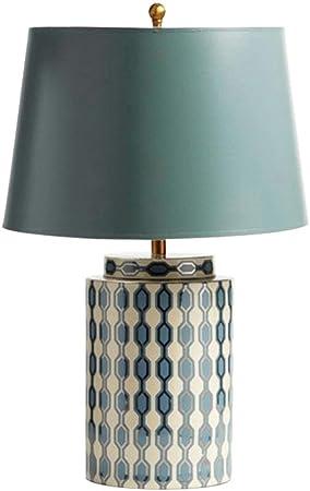 Dormitorio Lámpara de Mesa Europea jardín Azul Tabla de cerámica ...