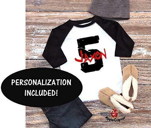 Applecoter PERSONALIZED Fifth Birthday Party Shirt Boy Five Year Old Gift 5th Baseball Raglan Larger Image