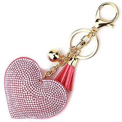 Elesa Miracle Girl Women Love Heart Tassel Keychain, Purse Bag Charm, Handbag Accessories, Car Key Chain