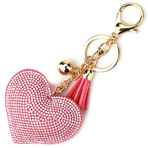 Elesa Miracle Girl Women Love Heart Tassel Keychain, Purse Bag Charm, Handbag Accessories, Car Key Chain (Pink)