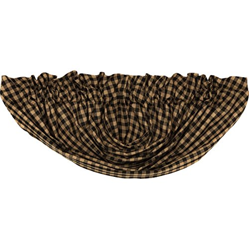 - VHC Brands 5957  Black Check Balloon Valance Lined 60x15
