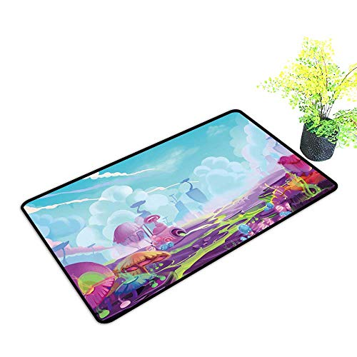 Non Slip Floor Welcome Mat A Mystery Wonderland Realistic Fantastic Cartoon Style Artwork Scene,Wallpaper Durable and Resistant to Soiling W23 x H17 -