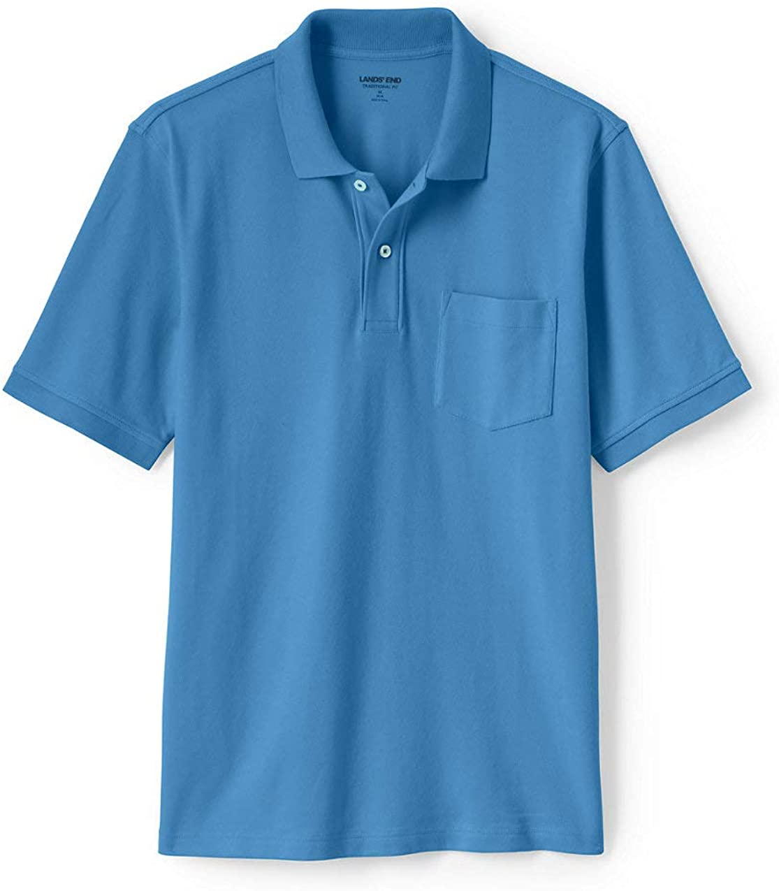 Lands End Mens Short Sleeve Comfort First Solid Mesh Polo with Pocket