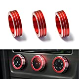 iJDMTOY 3pcs Red Anodized Aluminum AC Climate Control Ring Knob Covers For Volkswagen MK7 Golf GTI