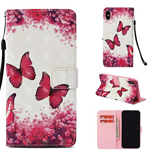 Case for iPhone Xs Mas,Premium Pu Leather Folio Card Holder Case with Magnetic Closure Anti Sliding Shock Proof Creative Gift for Birthday and Xmas Compatible with Apple iPhone Xs Mas -Butterfly