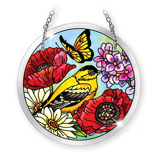 Amia 41567 Parade of Poppies Hand-Painted Beveled Glass 3-3/4-Inch Circle Suncatcher, Small