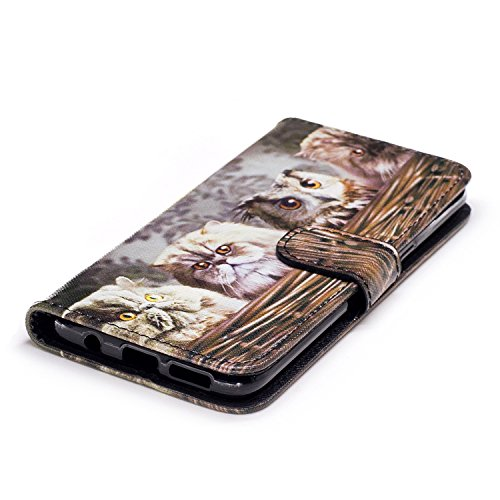 TOCASO Funda de Cuero Samsung Galaxy S8 Cuero Funda Piel para con Tapa Samsung Galaxy S8 [Garantía de por vida] Soporte Plegable Ranuras para Tarjetas y Billetes Estilo Libro Cierre Magnético Impresió Un gato