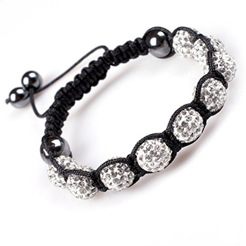 GEM-inside Clear Women Girl 10mm Pave Shine Crystal Beads Hand-Woven Bracelet Adjustable