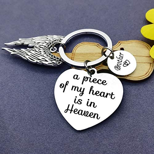 Brother Memorial Keyring Forever in My Heart Charm and Gold Brother Charm