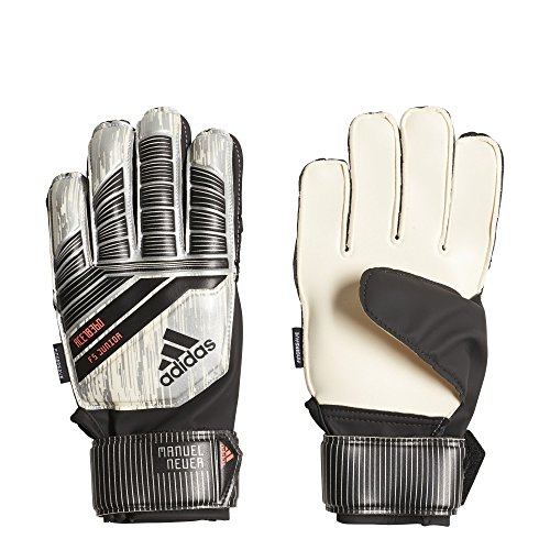 (adidas Predator Junior Soccer Gloves,White/Silver Metal/Black/Solar Red,Size 5)