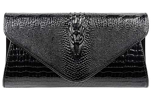 - Bidear Envelope Clutch Purse Genuine Leather Party Handbag Evening Bags for Women (Leather-Black)