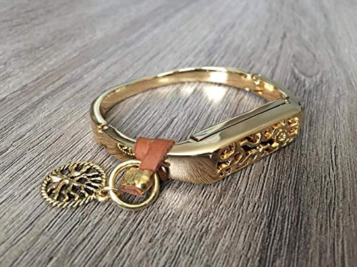 Gold Metal Band For Fitbit Flex 2 Activity Tracker Handmade Fashion Luxury Jewelry Fitbit Flex 2 Band Brown Genuine Leather Strap & Gold Vintage Tree Of Life Charm Fitbit Flex 2 Bracelet
