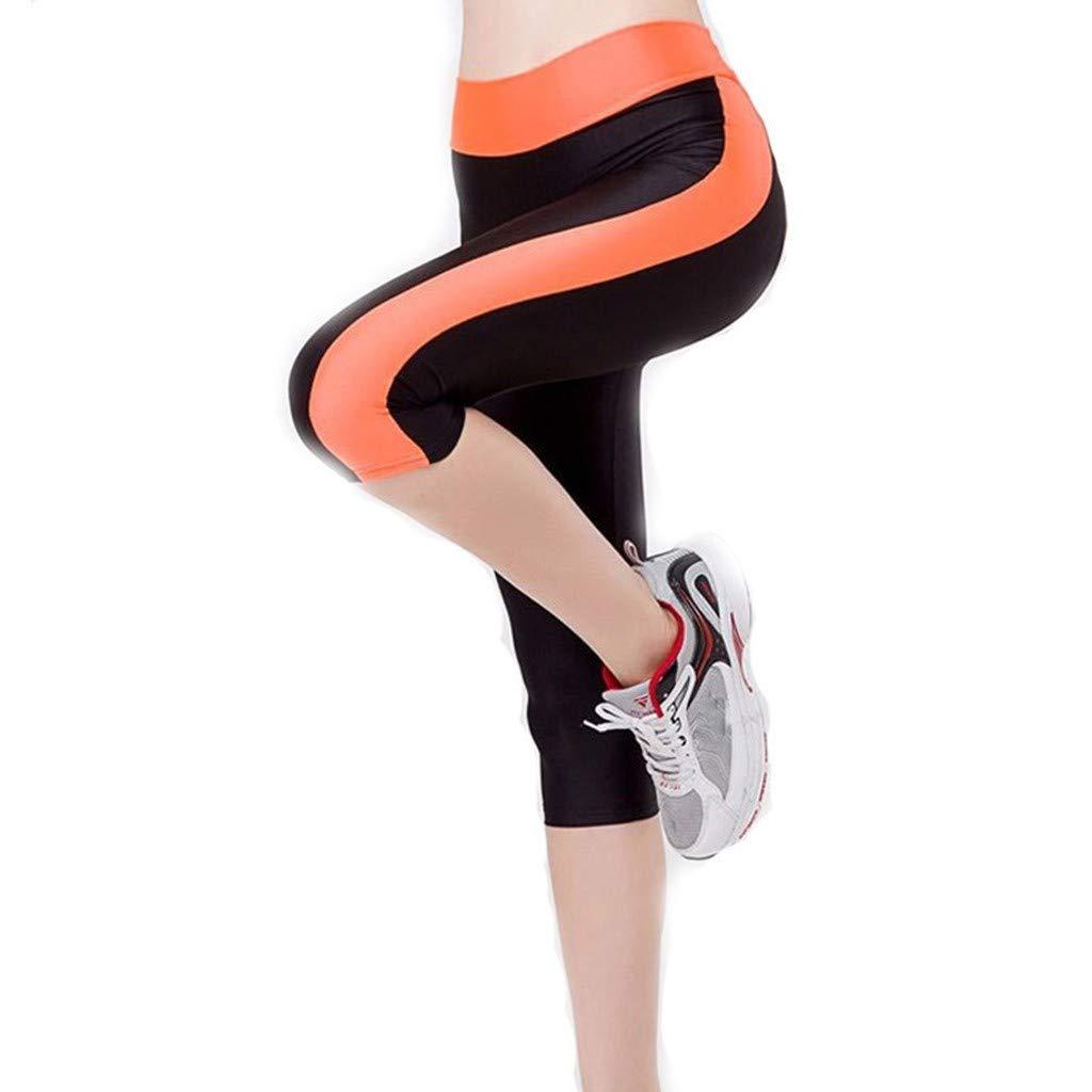 Yebutt Damen PersöNlichkeit Streifen Print Knie-LäNge Yogahose Hose Mit Hohem Bund Und Schmaler Pilates-Hose Atmungsaktive Laufleggings Fitnesshose Sportbekleidung