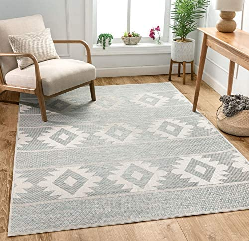 Well Woven Povie Blue Southwestern Flatweave Diamond Medallion Pattern Area Rug 3×5 3 11 x 5 3
