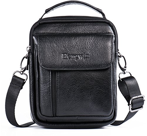 Hwin Holster Case with Belt Loop Leather Men Small Crossbody Travel Shoulder Bag Belt Pouch Waist Bag Fanny Messager Pack Handbag Purse iPhone 6s/7/8 Plus Briefcase Business Work Bags+Hwin Keychain
