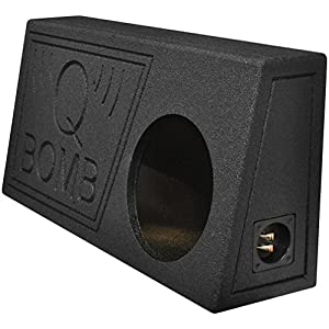 Q Power QBomb Single 10 Inch Vented Subwoofer Sub Box with Black Bedliner Spray