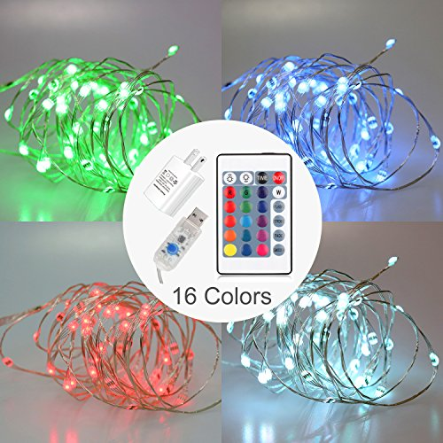 Rulaii LED Fairy String Lights USB/AC Powered with Timer Remote Control Dimmable, 16ft 50 LEDs Multi Color Copper Wire for Indoor Outdoor Decorative