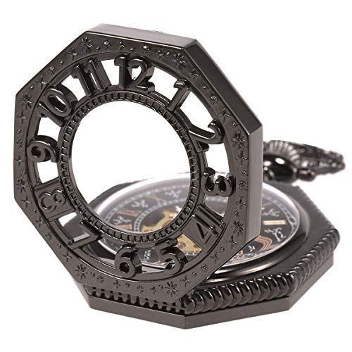 SIBOSUN Steampunk Octagon Skeleton Mechanical Pocket Watch with Chain Gift Retro Old Railroad Style Black