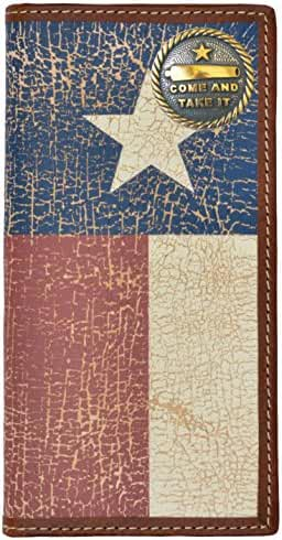 Custom Come and Take It Long Wallet with Distressed Texas Lone Star Flag