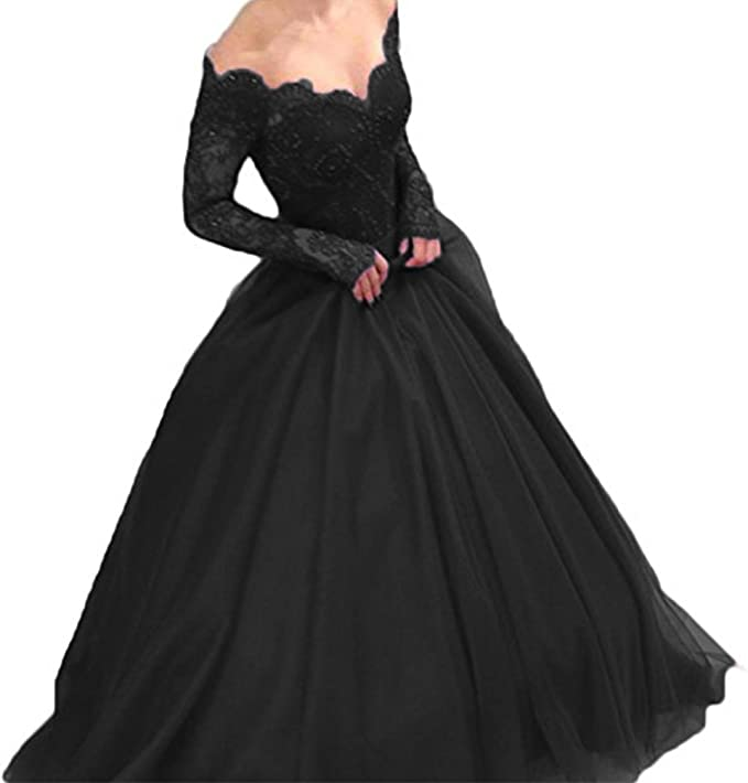 Black Long Sleeve Ball Gowns