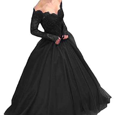 Womens Off Shoulder Lace Prom Dress Long Sleeves Ball Gown for Bride Black 2