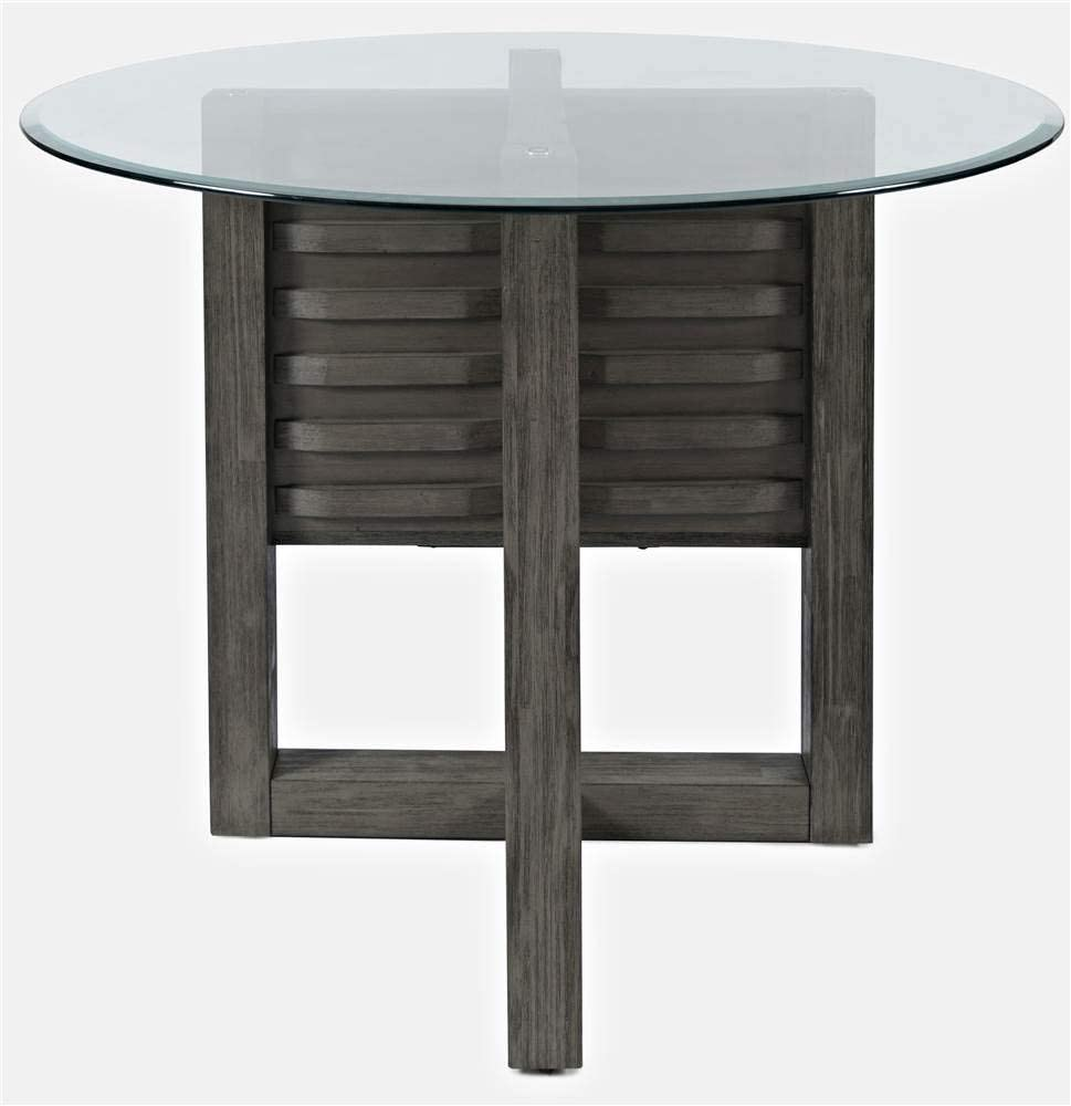 Jofran Altamonte Round Glass Top Dining Table, Gray