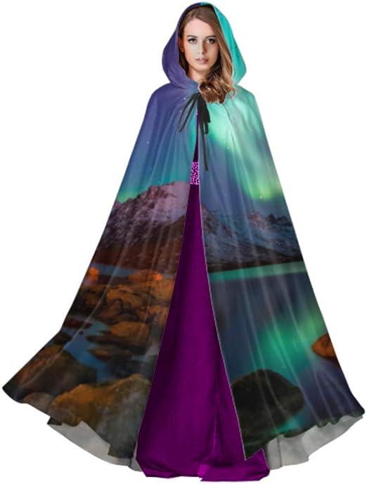 Yushg Espectacular Vestido de Capa de Capa Verde Aurora Boreal ...