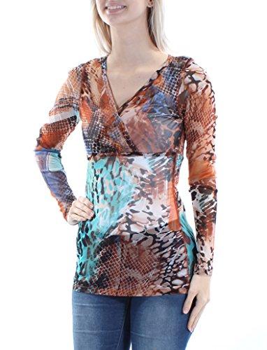 (Karen Kane $98 Womens New 1329 Brown Black Printed Sheer Long Sleeve Top S)