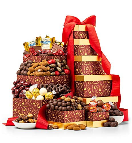 GiftTree The Golden Quintet Tower | An Abundant Offering of Dark Chocolate Balsamic Strawberries, Pomegranate Truffle Cremes and More | Your Holiday Gift For Clients, Families and Favorites