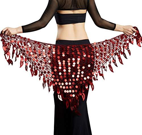 Aivtalk Women Belly Dance Hip Scarf Sequins Mesh Triangle Wrap Skirts