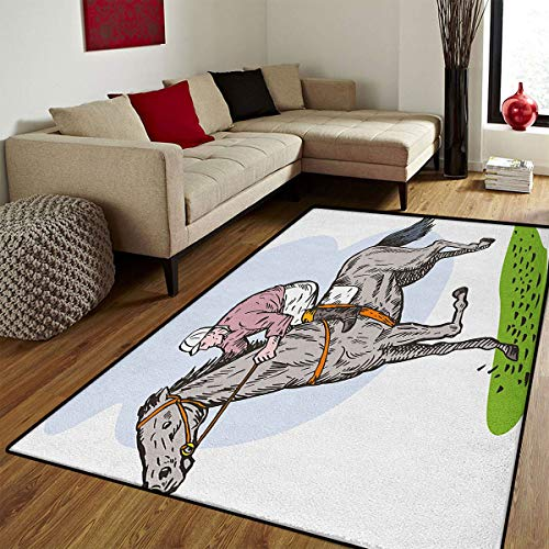 Animal,Bath Mats for Floors,Sketchy Horse Racing Theme Jockey Pony Stallion Riding on Field Retro Illustration,Customize Bath Mat with Non Slip Backing,Multicolor,5x6 ft -