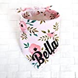Pink Vintage Floral Bandana - Tie on Classic Pet Bandana Scarf, Pet Fashion Scarf, Dog Bandana Scarf, Cat Bandana Scarf