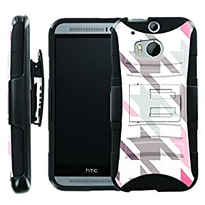 [ManiaGear] Heavy Duty Combat Armor Dual Layer Design Image Case With Kickstand Belt Holster Case (Houndstooth) for HTC One M8