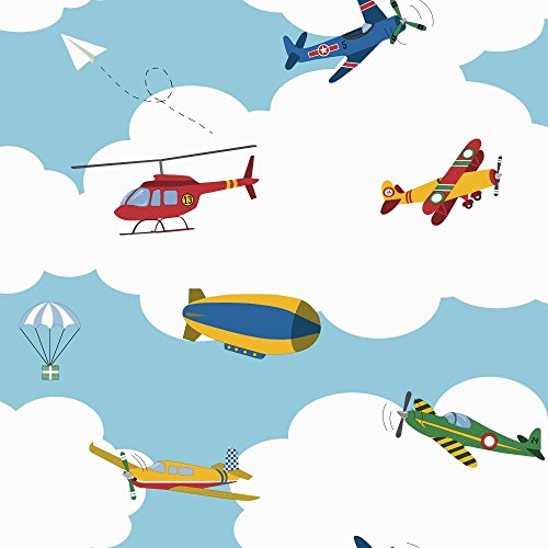 - York Wallcoverings Waverly Kids in The Clouds Removable Wallpaper, Blue/Red/Yellow/Green/White