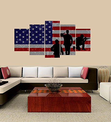 [LARGE] Premium Quality Canvas Printed Wall Art Poster 5 Pieces / 5 Pannel Wall Decor American Flag Painting, Home Decor Pictures - With Wooden Frame by PEACOCK JEWELS