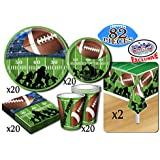 Deluxe Football Theme Party Supplies Pack for 20 People, Includes 20 Large Plates, 20 Small Plates, 20 Napkins, 20 Cups & 2 Table Covers - Perfect for Gameday or Birthday (82 Pieces Total)