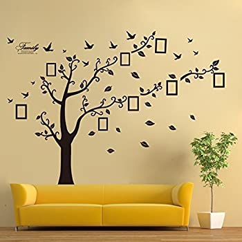 Wall Decals Art Stickers Waterproof, Huge Size Family Photo Frame, Tree And  Birds Pattern