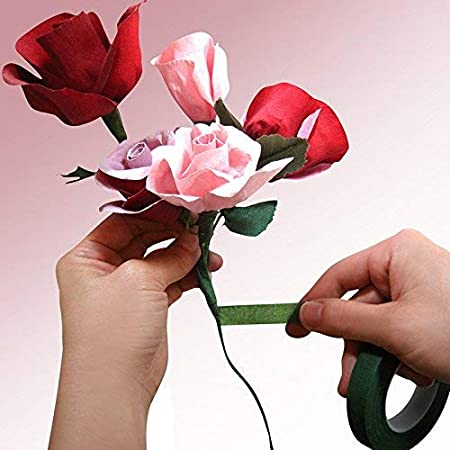 Cinta adhesiva de papel para bouquets arreglos florales y manualidades 27.5M*1.2CM amarillo Kentop Floral Tape