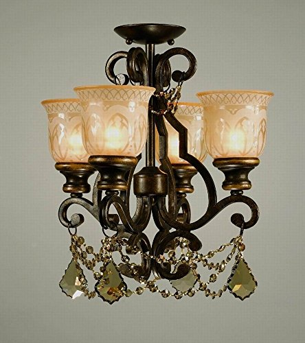 Crystorama 7504-BU-GT-MWP_CEILING Crystal Accents Four Light Ceiling Mount from Norwalk collection in Bronze/Darkfinish, 17.00 inches