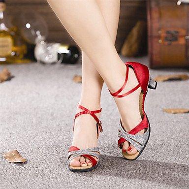 Ruhe Latein Damen mehr Satin Cuban Farben Heel Tanzschuhe silber paillette qqrCdan