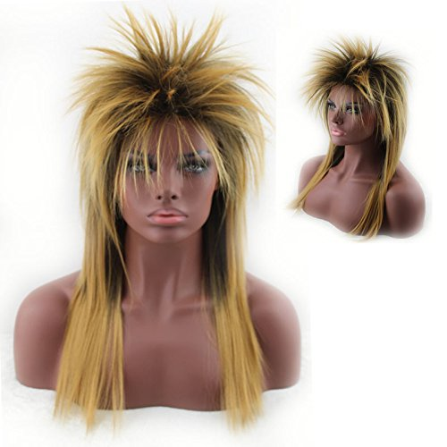 Women's 80's to the Maxx Spiky Rocker Wig Rock Star Yellow Spiked Wig (Buy Mullet Wig)
